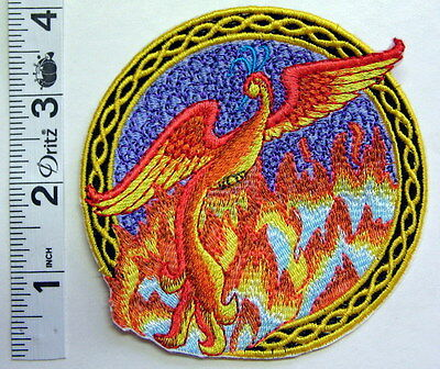 """4"""" PHOENIX Sew On PATCH Embroidered OOAK 102 Rebirth"""