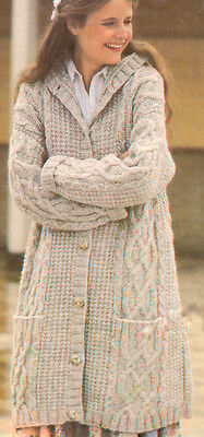 """Chunky 3/4 Length Aran Style Hooded Cabled Coat 34"""" - 40"""" Vintage Pattern Copy"""