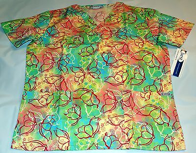 NEW Scrubs   ~   V Neck Print Scrub Top   ~   M   ~   Songdance Turquoise