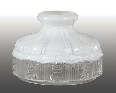 "BP 10"" inch Glass lamp Shade with Satin Top and Clear Panels fits Aladdin"