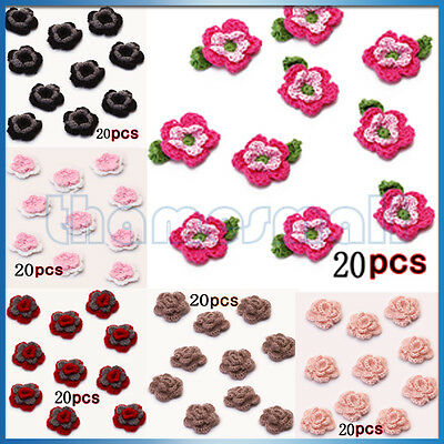 20pcs Handmade Crochet Flower Appliques Sewing Craft for Bag Hat Clothing Decor