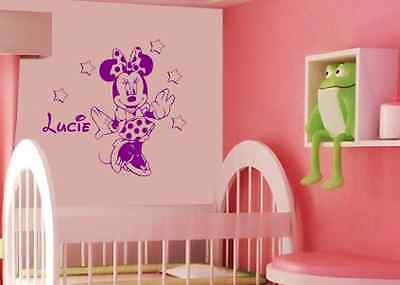 stickers d co mural minnie prenom personnalis 2 tailles disponibles. Black Bedroom Furniture Sets. Home Design Ideas