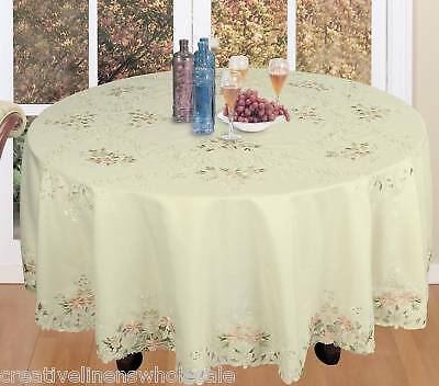 """Spring Embroidered Daisy Floral Tablecloth 88"""" Round & 12 Napkins Beige 3459"""
