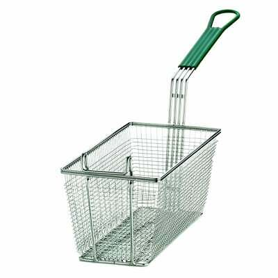 Heavy Duty Rectangular Professional Fry Basket, with Hook, Green Handle Deep Fry