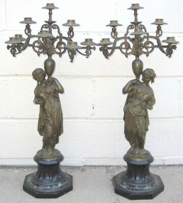 F. Barbedienne Pair Bronze French Figurine Candleabras    MAGNIFICENT
