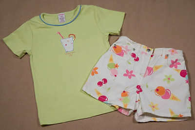 Gymboree Girls 5 Top & Shorts Set Rainbow Sherbet Lemonade Outfit Spring Summer