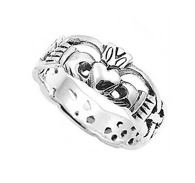 Sterling Silver .925 Claddagh Infinity Weave Ring Size 4-12