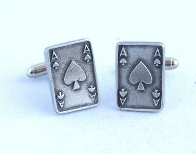 Ace of Spades Playing Card Cufflinks in Fine English Pewter, Gift Boxed