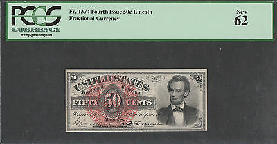 """Fr1374 50¢ 4Th Issue Lincoln Fractional Currency Unc W/ Pcgs Grade """"62"""" Wl1321A"""