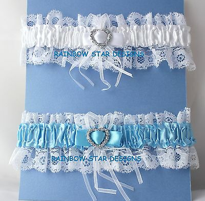 Something Blue Lace Wedding/Hen Night Garter with Sparkly Heart