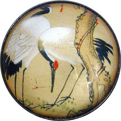 "Crystal Dome Button Egret in Marsh Asian Inspired  Lg Size 1 & 3/8"" AAI06"