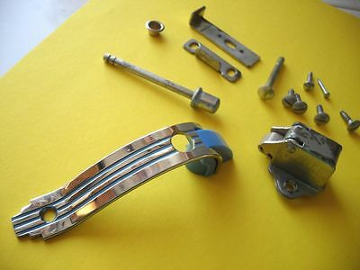 Vintage NOS 1940's 1950's CHROME BLUE Lines Cabinet Door Pulls Push Button Latch