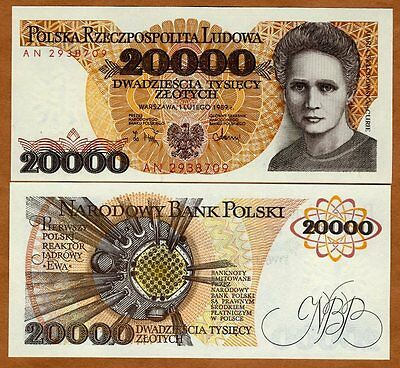 Poland, 20000 (20,000) Zlotych, 1989, P-152, UNC > Maria Curie