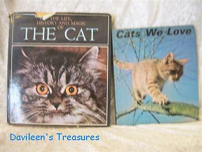 Two Vintage Books about  Household Cats Replete with Numerous Photos