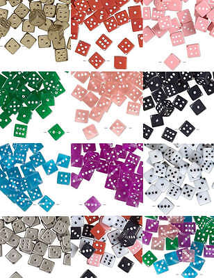 Lot of 50 Plastic Acrylic 11mm Square Dice Beads with Number Dots True to Life