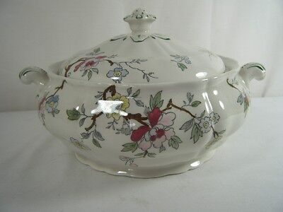 Booths Chinese Tree A8001 Tureen With Lid  Red Pink Yellow Floral*