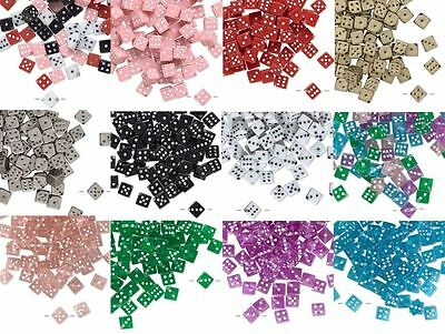 Lot of 100 Plastic Acrylic 7mm Square Dice Beads with Number Dots True to Life