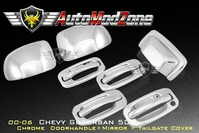 00-06 Chevy Tahoe Chrome 4 Door Handle + Tailgate + Upper Mirror Cover Combo