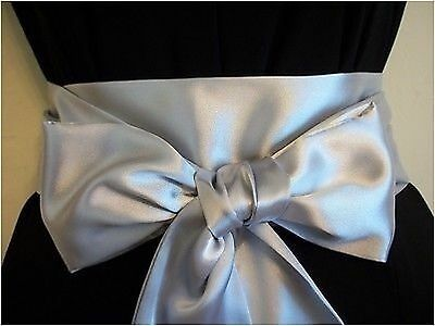 "3.5x60"" SILVER SATIN SASH BELT SELF TIE BOW FOR DRESS WEDDING PROM PARTY FANCY"