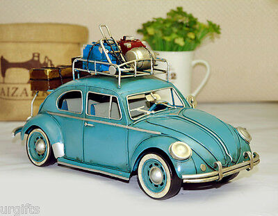 Vintage Model Metal Bar Decor VW Volkswagen w/ Roof Rack Germany Beetle 1958 BL