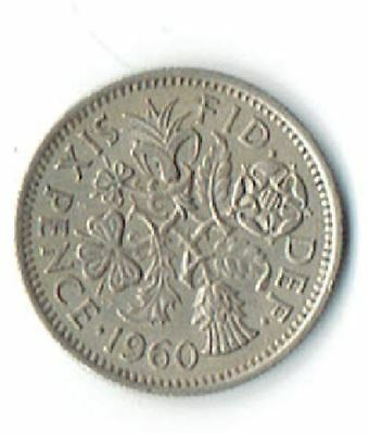1960 BRITISH WEDDING QUEEN ELIZABETH II SIXPENCE Q E II UK  .89 shipping