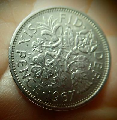 "1967 UK - Great Britain *Wedding Sixpence - ""Something Old Something New"""