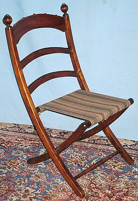 Antique Victorian Folding Carpet Chair Original Hand Grained Finish Dolls Bear