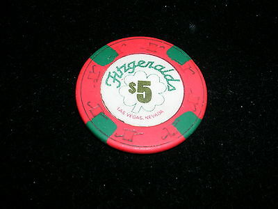 Fitzgeralds FITZ Casino & Hotel las Vegas $5 Red Gaming Chip Now The D