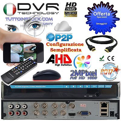 Dvr 8 Canali H264 2 Mpixel + HD 1000Gb Cloud AHD HIBRYD Per iPhone Android P2P