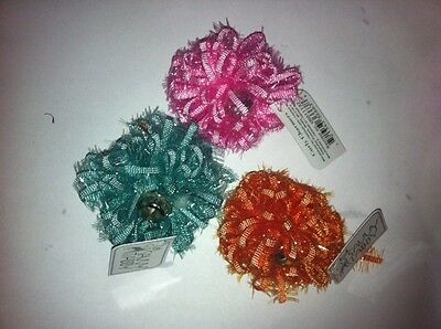 Savvy Tabby Curly Charmers Cat Toy SETS OF 3 OR 6 Balls Ribbon with bell