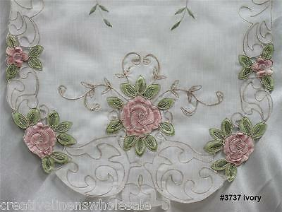 Spring Embroidered Pink Rose Floral Sheer Placemat Table Runner Tablecloth 3737W