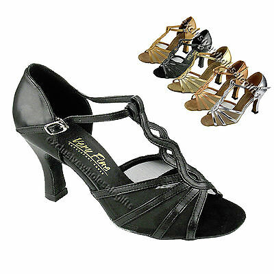 Women's Salsa Ballroom Tango Black Brown Silver Dance Shoes 2.5/3 Very Fine 1692