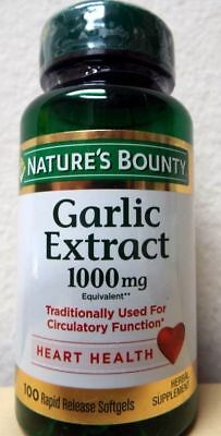 100 Garlic 1000mg Odorless Nature's Bounty Supplement Cholesterol Cardio Health