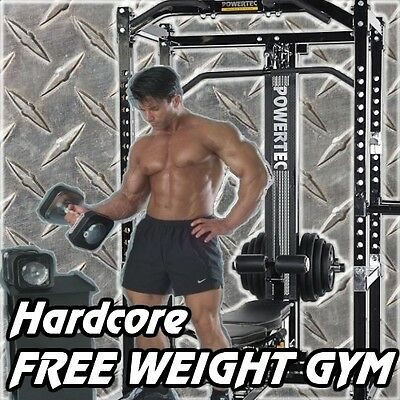 HARDCORE POWERTEC Free Weight Power Rack Gym + Ironmaster Dumbbells