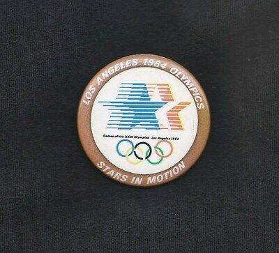1984 SUMMER OLYMPICS PINBACK ~ STARS IN MOTION ~ VG+ Condition
