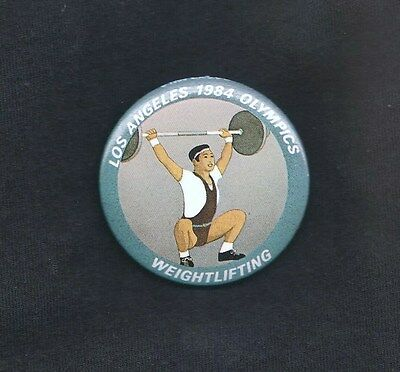 1984 SUMMER OLYMPICS PINBACK ~ WEIGHTLIFTING ~ Near MINT Condition
