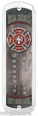 Vintage Style Real Heroes Fire Department Fireman Metal Thermometer # 17780