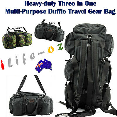 CLEARANCE 62L Three in One Multi-Purpose Duffle Travel Gear Bag Sports Backpack