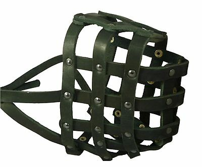 "Genuine Leather Basket Dog Muzzle 18""- 4.7"" snout Saint Bernard Newfoundland"