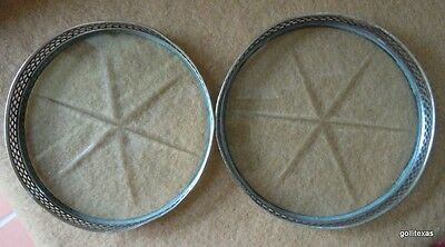 """Vintage Set of 2 Silver and Cut Glass Coasters 3"""""""