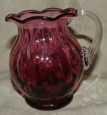 LOVELY Pilgrim Glass Cranberry Ruffle Edge Pitcher Clear Applied Ribbed Handle