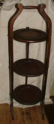 Antique 1780-1820 Federal Period Burled Mahogany 3 Tier Folding Tea Stand