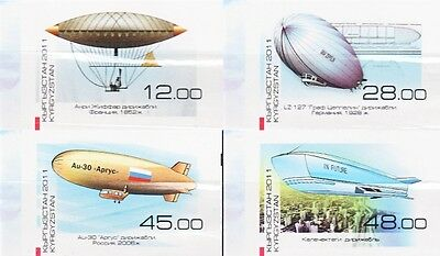 Kyrgyzstan - 2011 - Development of Dirigibles, 4v imperf.