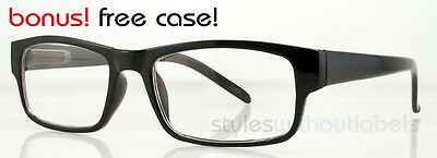 Trendy 80s Retro Square Style Glasses Clear Lens Nerd Hipster Black Tortoise