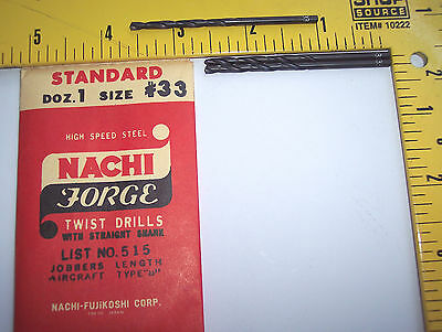 "nEw 3 Pc. ~ Nachi #33 / .113"" Drill bits lathe mill end machinist aircraft tool"