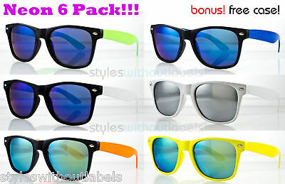 80s NEON COLORS Frame Mirror Lens RETRO 80s Style Sunglasses Party Pack 6 PAIRS