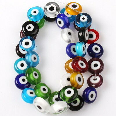1String Mix Colorful Evil Eye Glass Beads 10mm 110635