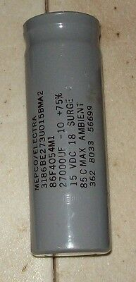 Recovered Mepco Electra 27,000 MFD 15 VDC Electrolytic capacitor