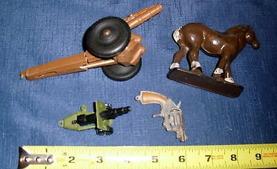 WESTERN & MILITARY TOY LOT (4) 2 CANNONS TOY MINI GUN HORSE