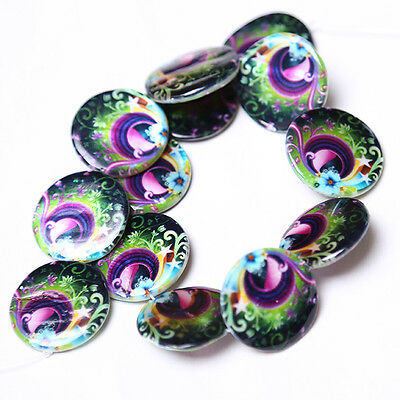 1strings Nice Peacock Oblate Flat Round Disc Loose Faux Shell Beads Findings C